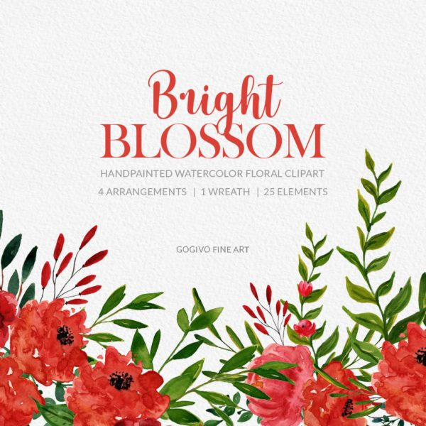 Bright Blossom Watercolor Flower Clipart Preview_1