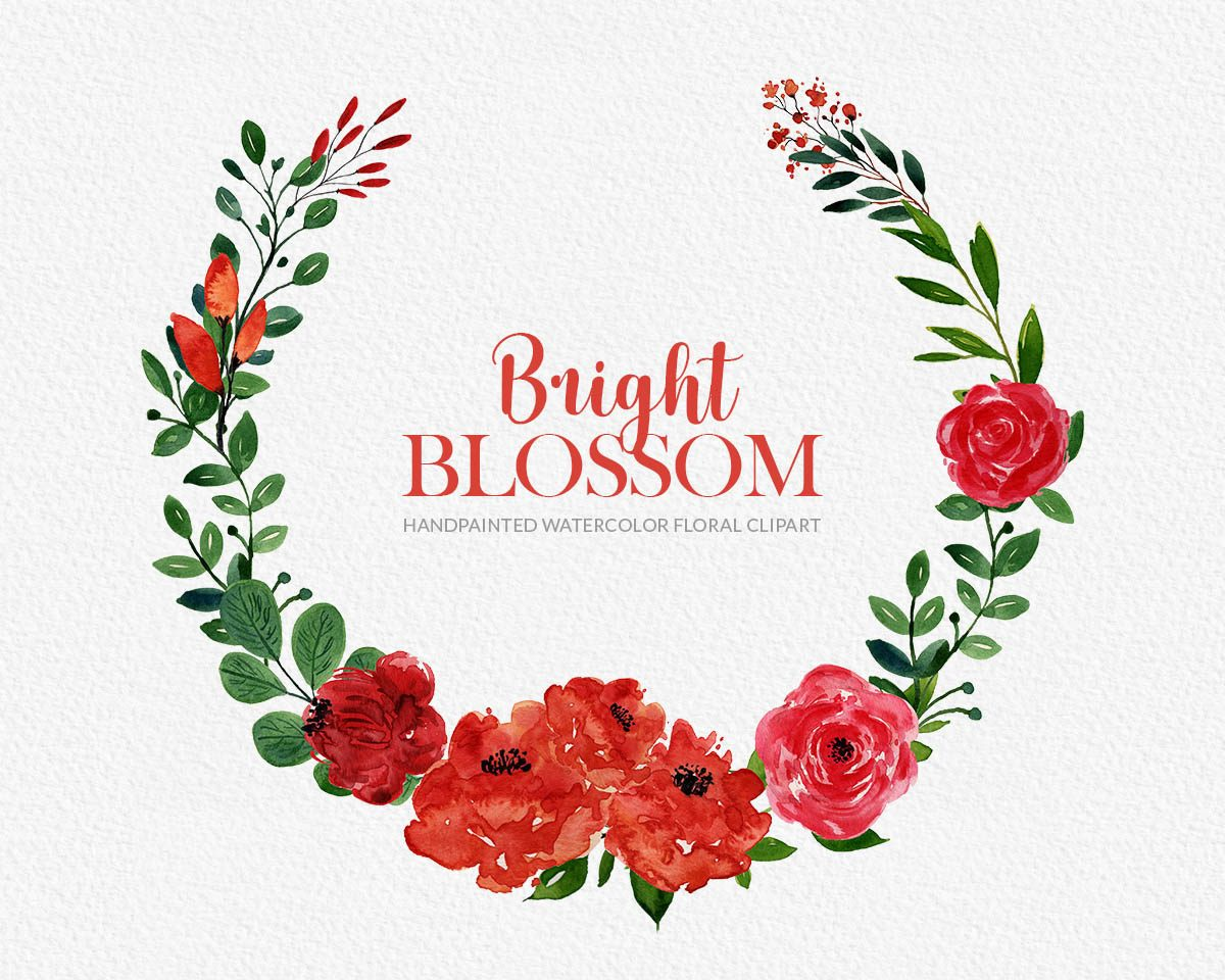 Bright Blossom Watercolor Flower Clipart Preview_2