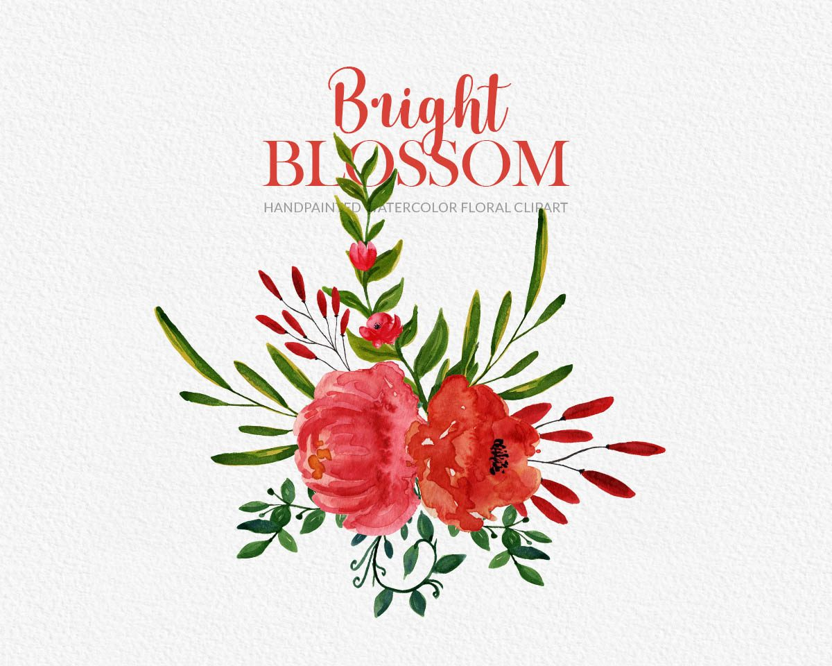 Bright Blossom Watercolor Flower Clipart Preview_4