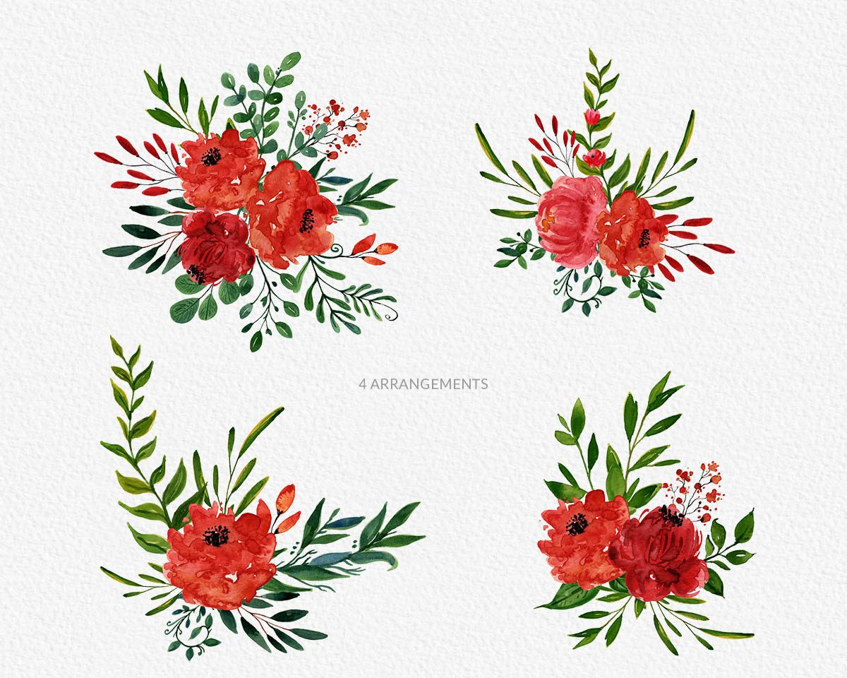 Bright Blossom Watercolor Flower Clipart Preview_6