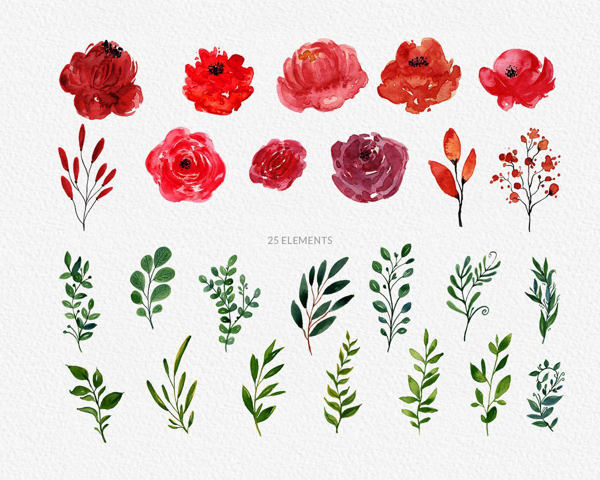 Bright Blossom Watercolor Flower Clipart Preview_8