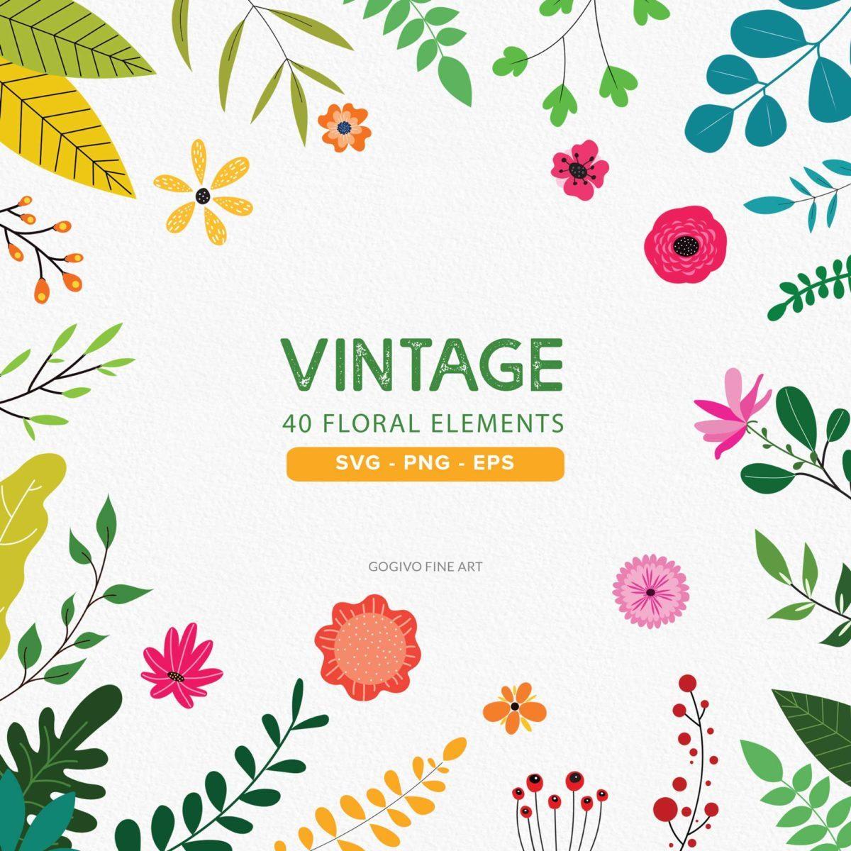 40 Vintage floral cliparts_Preview_1
