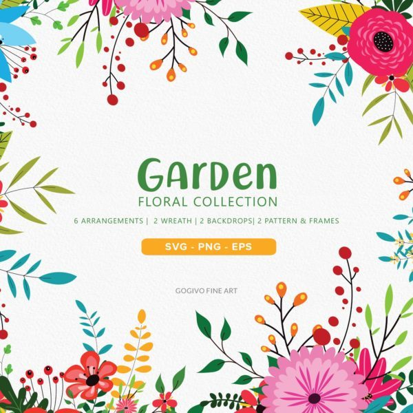 Garden Floral Clipart Collection_Preview_1