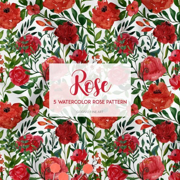 Free Rose Watercolor Patterns