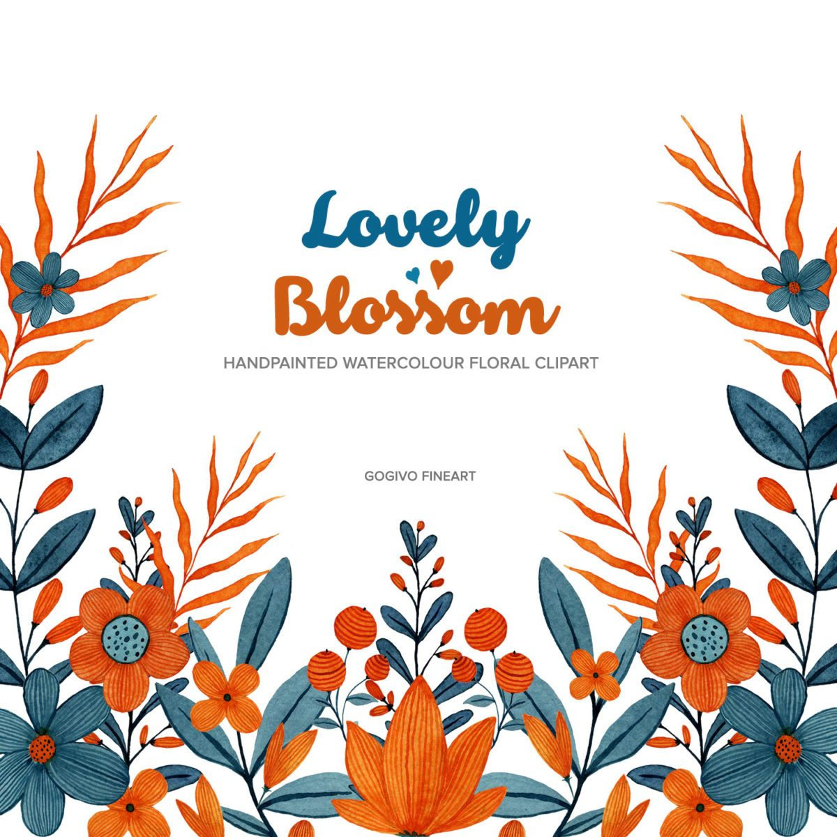 Lovely blossom watercolor floral clipart
