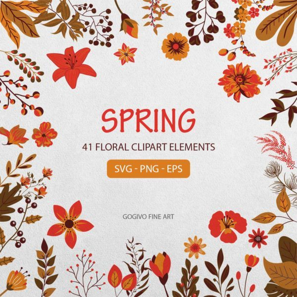 Spring 41 Floral Clipart Elements