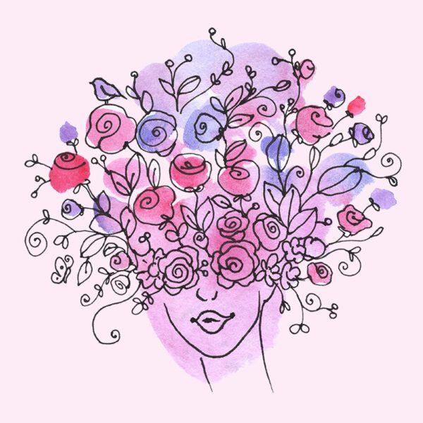 Gogivo_5707_women floral face clipart